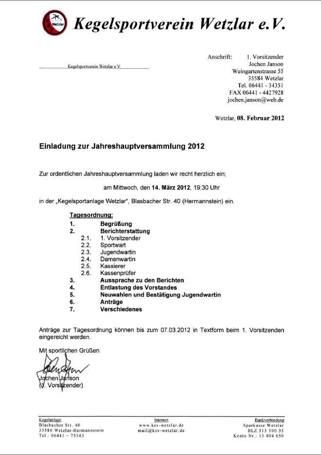 ksv wetzlar e.v. - michel andrick übernimmt die sportliche leitung, Einladung